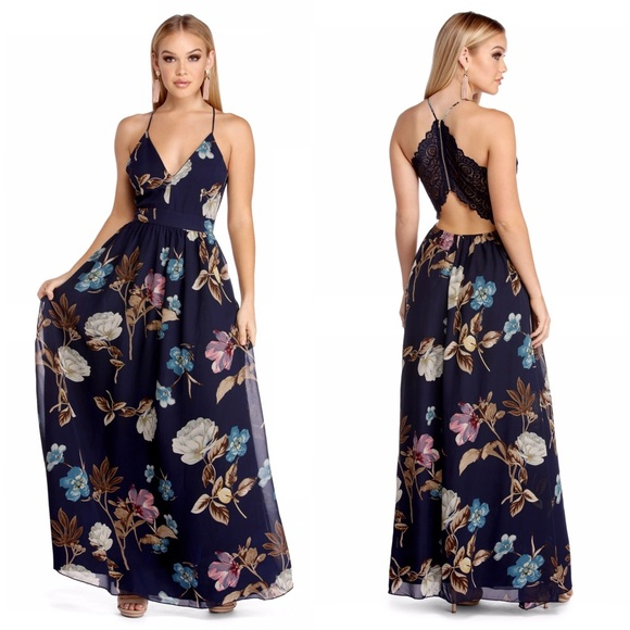 d60a36e14581 Windsor Dresses | Navy Flower Power Chiffon Maxi Dress | Poshmark